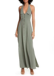 L'AGENCE Amina Silk Halter Maxi Dress
