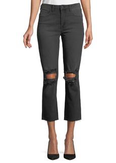 L'Agence Audrina Destructed-Knee Crop Straight-Leg Jeans