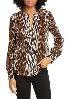 L'AGENCE Bardot Leopard Spot Band Collar Silk Blouse