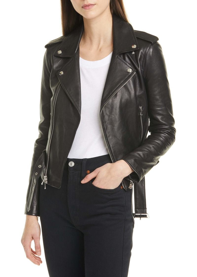 L'AGENCE Belted Leather Moto Jacket