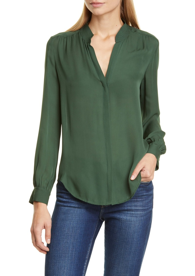 L'Agence LAGENCE Bianca Band Collar Silk Blouse