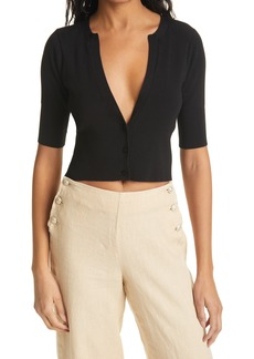 L'AGENCE Carrie Plunge Neck Short Sleeve Ribbed Cardigan