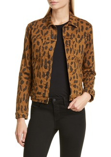 L'AGENCE Celine Cheetah Print Denim Jacket