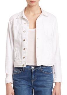 L'Agence Celine Slim Distressed Denim Jacket