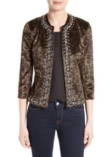 L'AGENCE Chain Trim Faux Fur Jacket