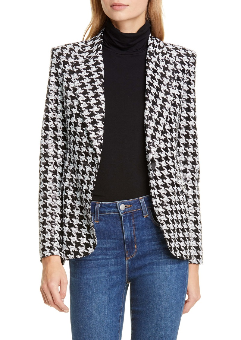 L'AGENCE Chamberlain Sequin Houndstooth Blazer
