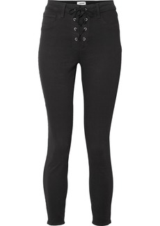L'Agence The Cherie Lace-up High-rise Skinny Jeans