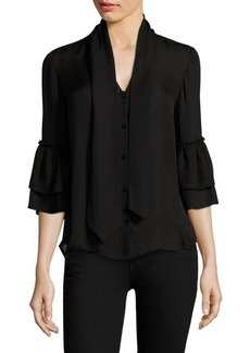 L'Agence Desa Bow Tie Silk Bell-Sleeve Blouse