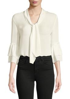 L'Agence Desa Tie-Neck Silk Button-Front Blouse