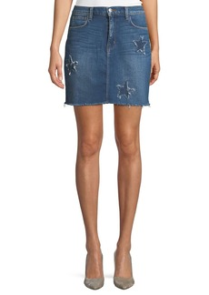 L'Agence Estrella Star-Patch Straight Denim Skirt
