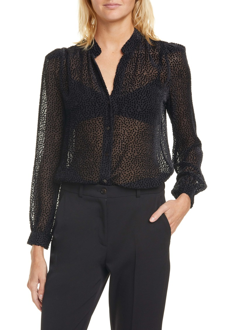 L'AGENCE Florent Flocked Dot Silk Blend Blouse