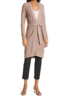 L'AGENCE Harleen Belted Cable Cotton Blend Long Cardigan