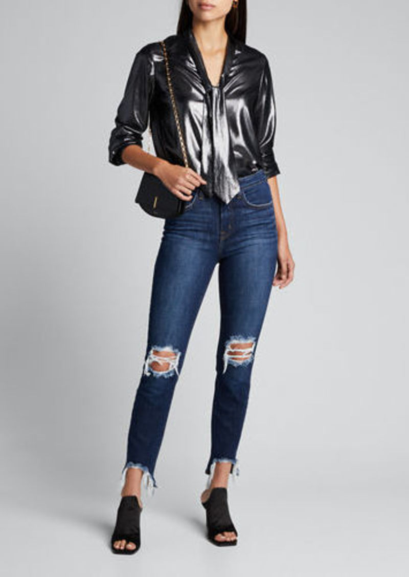 L'Agence High Line High-Rise Distressed Skinny Jeans with Shredded Hem