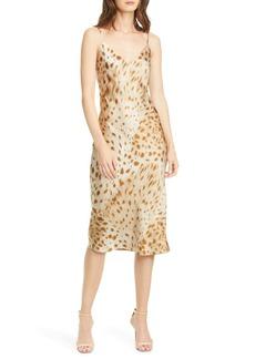 L'AGENCE Jodie Cheetah Print Silk Slipdress