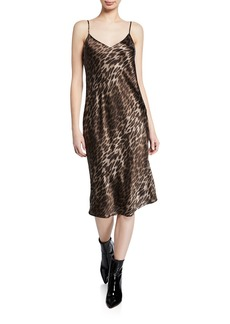 L'Agence Jodie Leopard V-Neck Silk Slip Dress