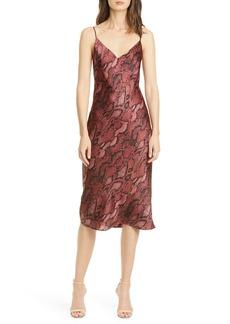 L'AGENCE Jodie Snake Print Silk Slipdress