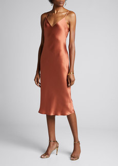 L'Agence Jodie V-Neck Silk Slip Dress