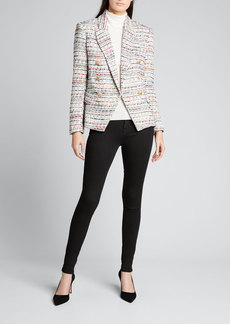 L'Agence Kenzie Tweed Double-Breasted Blazer