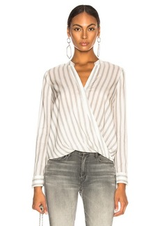 L'AGENCE Kyla Long Sleeve Draped Blouse