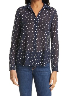 L'AGENCE Laurent Floral Embroidery Textured Chiffon Blouse