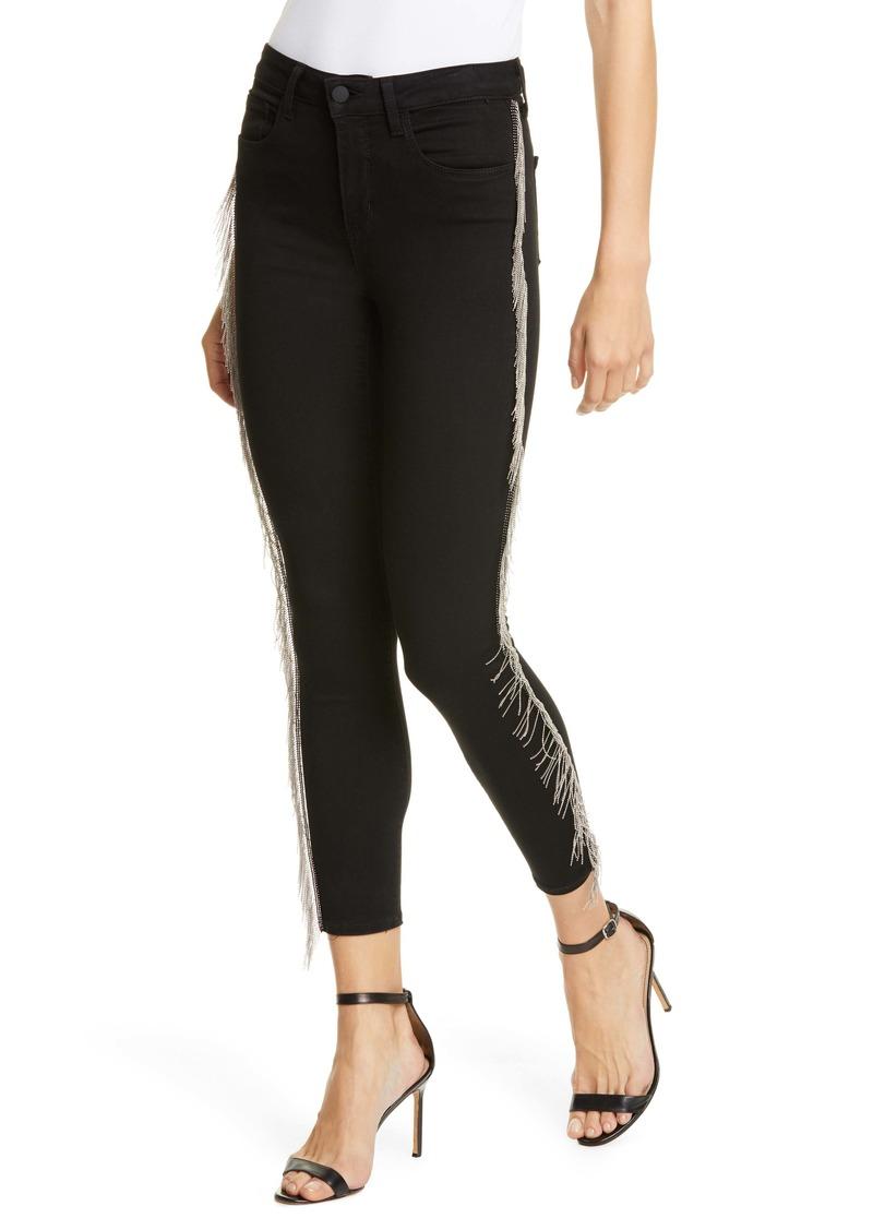 L'AGENCE Margot Chain Fringe Crop Skinny Jeans (Noir)