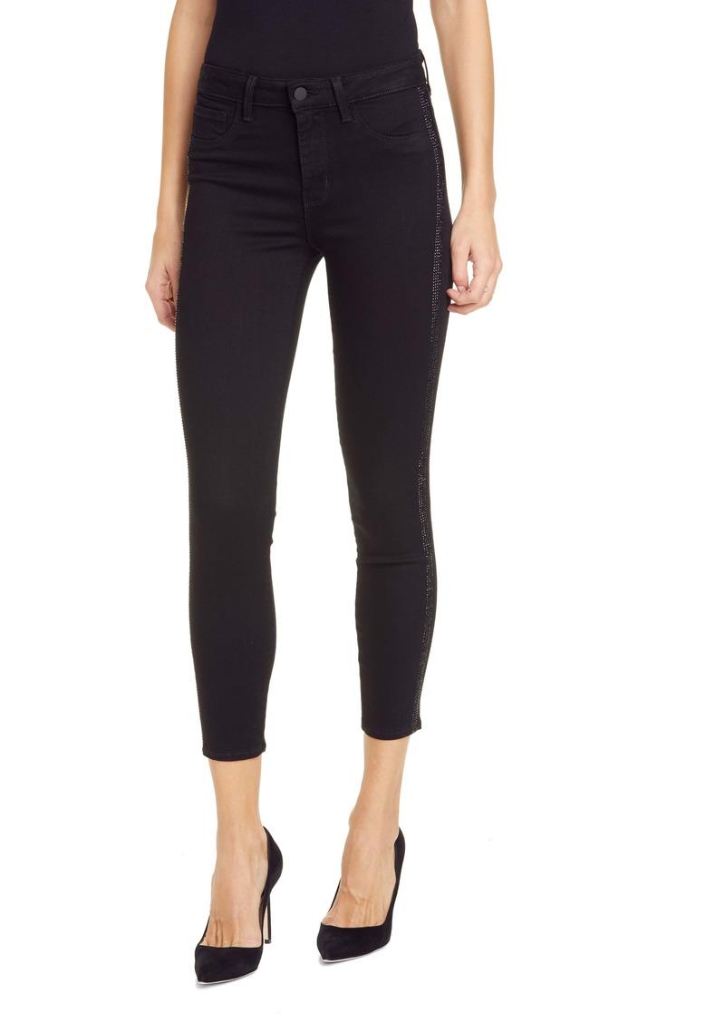 L'AGENCE Margot Crystal Tux Stripe High Waist Skinny Jeans