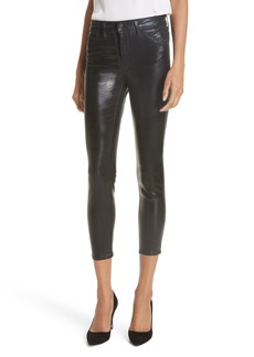 L'AGENCE Margot Metallic Coated Crop Skinny Jeans (Silver Foil)