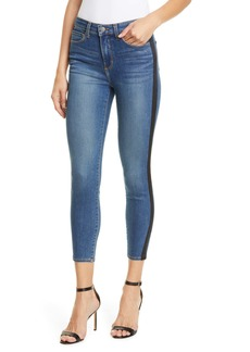 L'AGENCE Margot Satin Tux Stripe Crop Skinny Jeans (Neptune)