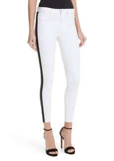 L'AGENCE Margot Side Stripe Crop Skinny Jeans (Blanc)