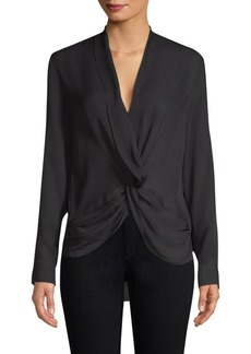 L'Agence Mariposa Plunge Silk Blouse