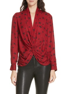 L'AGENCE Mariposa Print Twist Front Silk Blouse