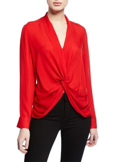 L'Agence Mariposa Silk Crossover Blouse