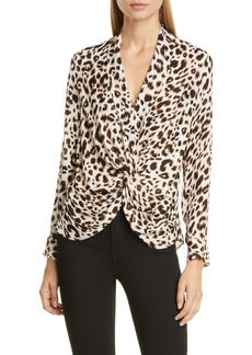 L'AGENCE Mariposa Twist Front Silk Blouse