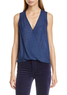 L'AGENCE Mila Draped Houndstooth Silk Surplice Blouse