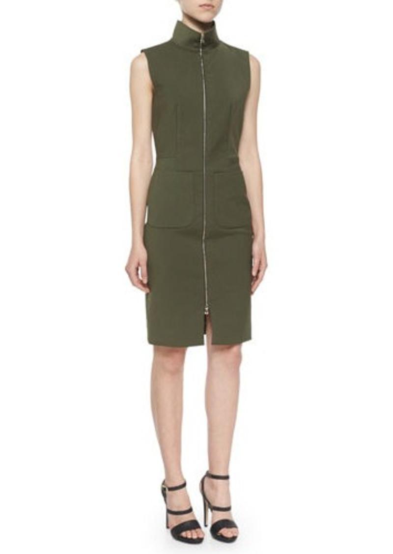 L'Agence Mock-Neck Front-Zip Dress