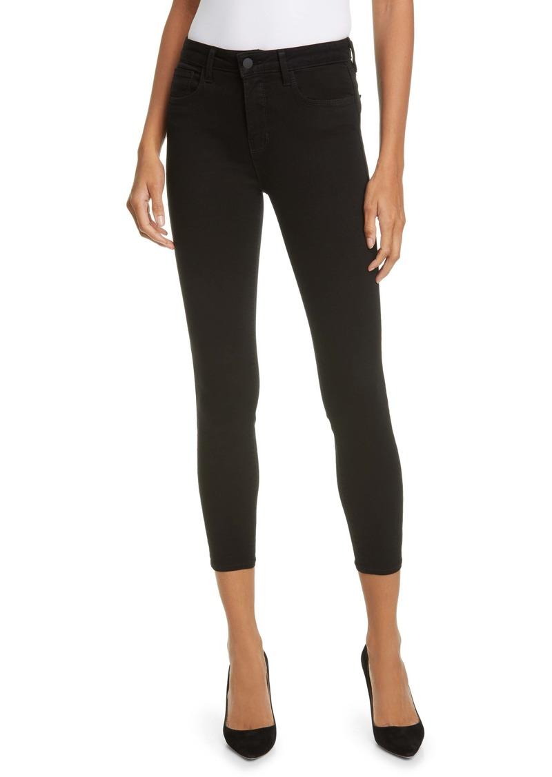 L'AGENCE Nicolette Safety Pin Embellished High Waist Crop Skinny Jeans (Noir)