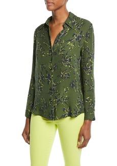 L'Agence Nina Floral-Print Silk Blouse
