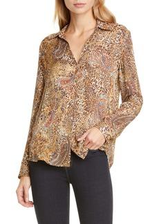 L'AGENCE Nina Leopard & Paisley Print Silk Blouse