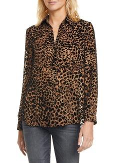 L'AGENCE Nina Leopard Burnout Blouse