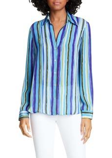 L'AGENCE Nina Stripe Silk Shirt