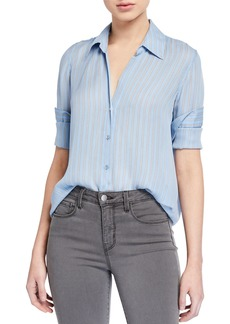 L'Agence Nina Striped Long-Sleeve Button-Down Silk Blouse