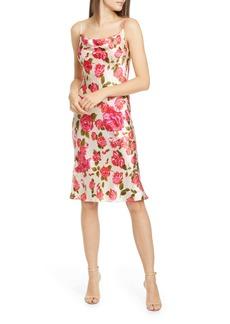 L'AGENCE Nyla Floral Cowl Neck Silk Dress