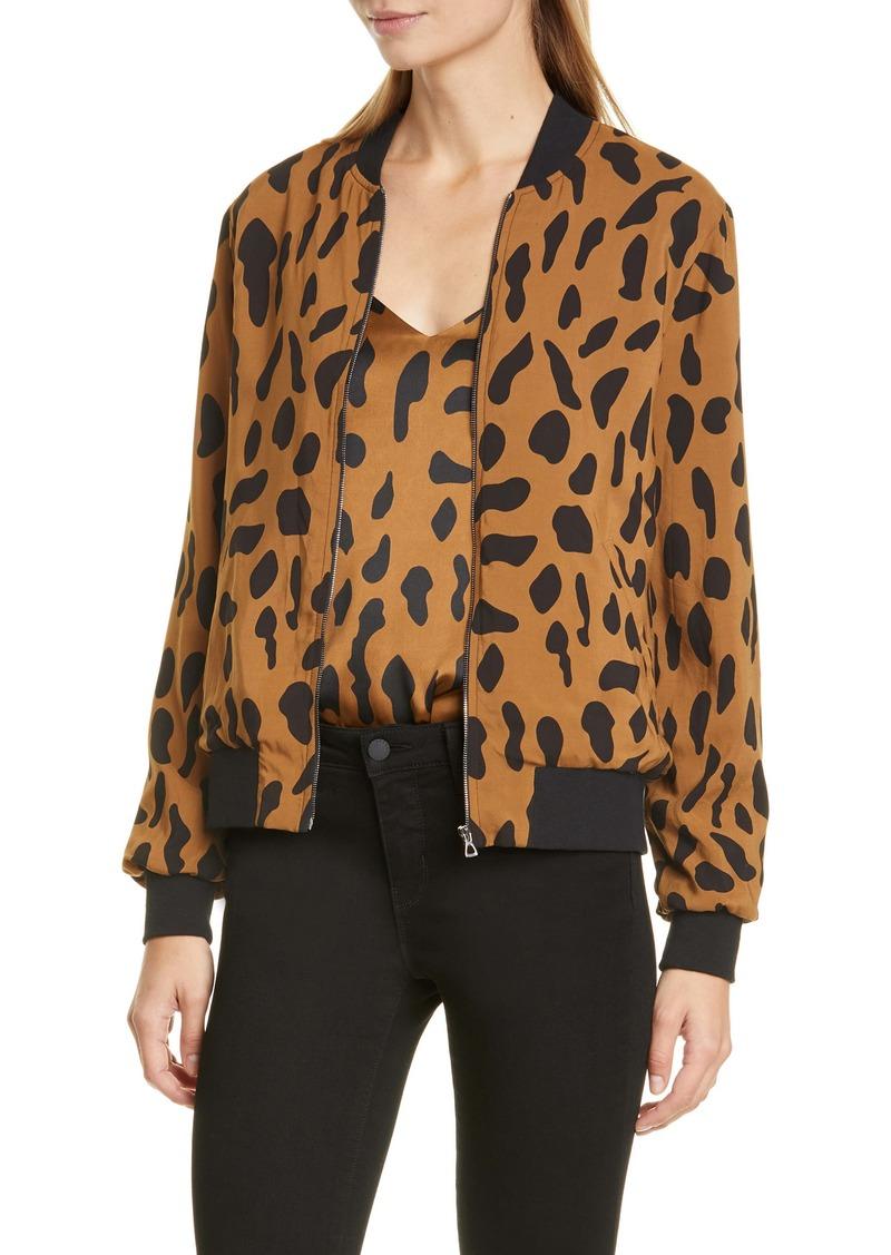 L'AGENCE Ollie Cheetah Print Silk Bomber Jacket