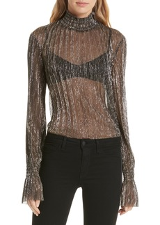 L'AGENCE Paola Sheer Metallic Silk Blouse