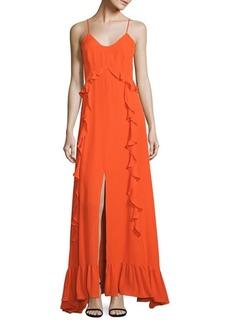 L'Agence Perla Ruffle Silk Dress