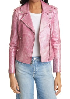 L'AGENCE Pink Leather Moto Jacket