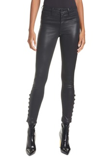L'AGENCE Piper High Waist Button Hem Coated Skinny Jeans
