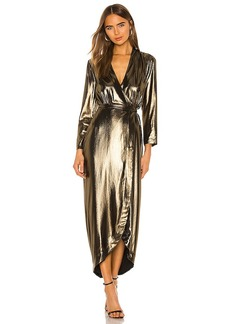 L'AGENCE Reliah Long Sleeve Wrap Dress