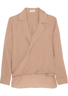 L'Agence Rita wrap-effect washed silk-georgette blouse