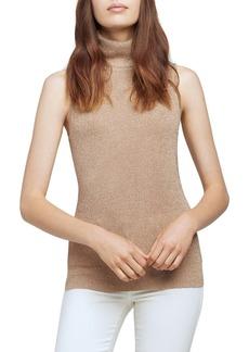 L'AGENCE Sabrina Metallic Sleeveless Turtleneck Sweater